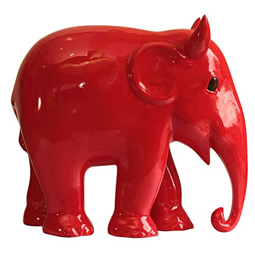 Elephant Parade dipinta a mano, replica Hellaphunt, Edizione limitata, motivo: elefante, Rosso, 15 cm