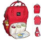 Wickelrucksack rot :: Wickeltasche zum Umhängen :: XL Volumen, bis 10 Kilogramm Füllgewicht :: Rucksack für Windeln Baby Kleinkinder :: Tasche zum Reisen und für Kinderwagen