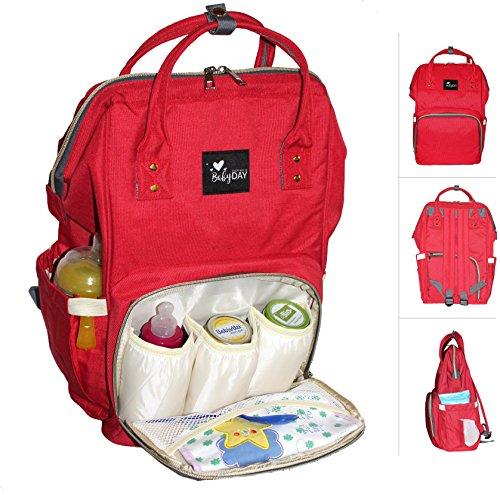 Wickelrucksack rot :: Wickeltasche zum Umhängen :: XL Volumen, bis 10 Kilogramm Füllgewicht :: Rucksack für Windeln Baby Kleinkinder :: Tasche zum Reisen und für Kinderwagen - Vans Rote Kleinkinder