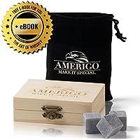 Premium Whisky Stones Set de Amerigo- ¿Aguar tu Whisky? ¡Nunca más! Juego de 9 Piedras Whisky - Empaquetado en un Exclusivo set de madera de regalo - Cubos de hielo - Whiskey Stones Gift Set - Gratis bolso de terciopelo