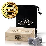 Premium Whisky Steine Geschenkset von Amerigo - Zerstört Whiskey Wegen Geschmolzen Eis? Nie Wieder! 9 Whisky Stones - Eiswürfel - Whiskey Kühlsteine Geschenk Gepackt in ein Hölzern Set + FREE EBOOK
