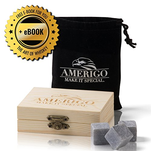 Premium Whisky Steine Geschenkset von Amerigo - Zerstört Whiskey Wegen Geschmolzen Eis? Nie Wieder! 9 Whisky Stones - Eiswürfel - Whiskey Kühlsteine Geschenk Gepackt in ein Hölzern Set + FREE EBOOK (Holz Alter Im Von)