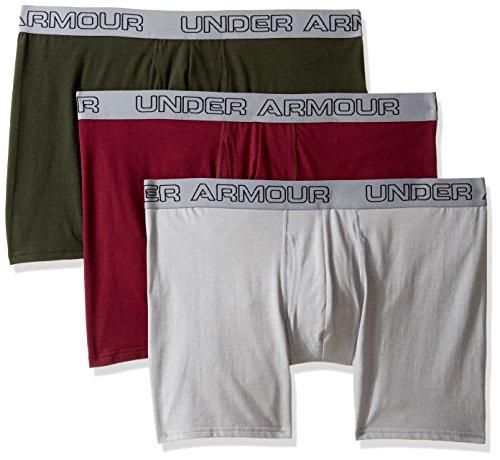 Under Armour Herren Boxer Jock, Stretch-Baumwolle, 15,2 cm, 3Stück, Herren, Artillery Green/Maroon (Unterwäsche Maroon Herren)