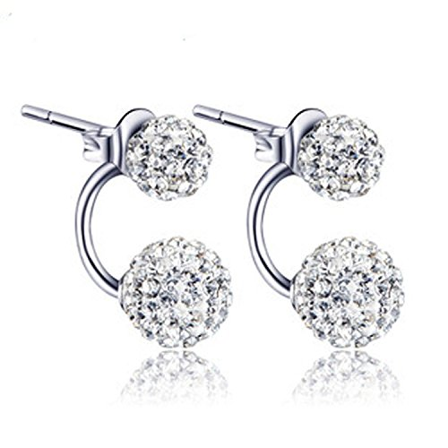 findout signore swarovski argento doppio diamante pieno due tipi di modi di indossare earrings.for donne ragazze (f1516)
