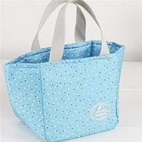 Preisvergleich für Yudanwin Leinwand-Lunch-Tasche Floral Insulation Paket Bento Bag weißen Kragen (blau)