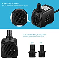 VicTsing 920GPH (3500L/H) Fountain Water Pump 60W Submersible Pump For Aquarium, Fish Tank, Pond, Hydroponics with 5.9ft (1.8M) Power Cord by VicTsing
