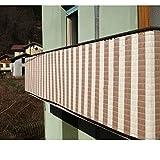 Balkon Sichtschutz 90x300 Natur-Braun aus langlebigem PP-Bast: Balkonverkleidung Balkon 3m 90cm Windschutz Sichtschutz Balkonbespannung Schutz