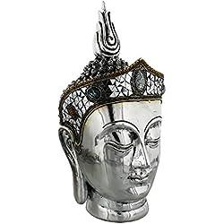 Muy grande 37cm hermosa Plata tailandesa Estatua de Buda cabeza adornado
