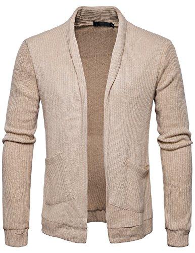 YCHENG Herren Klassischer Schalkragen Strickjacke Open Jacke Lang Cardigan Oversize Mantel Beige 2XL (Lange Klassisch Strickjacke)
