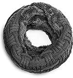 Grin&Bear warmer weicher Loop Schal mit Strick Muster und weichem Fleece Innenfutter A21-7