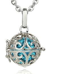 Morella® Damen Halskette Edelstahl 70 cm mit Ornament Anhänger und Klangkugel Ø 16 mm in Schmuckbeutel zur Farbauswahl