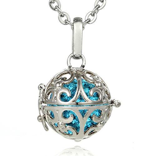 Morella® Damen Halskette Edelstahl 70 cm mit Ornament Anhänger und Klangkugel Zirkonia türkis Ø 16 mm in Schmuckbeutel -