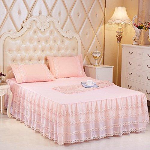 Hxxkact pizzo gonna del letto,gonna gonna antipolvere copriletto set letto 17.7 pollici cadere decorazione queen-king letto matrimoniale-i 180x200cm(71x79inch)