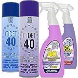 ITIDET SRL Confezione DETERGENTI VETRI : 1 40 Spray, 1 40 Liquido,1 40 Spray PROFUMATO, 1 40 Liquido PROFUMATO: DETERGENTI BRILLANTANTI per VETRI SPECCHI Cristalli E SUPERFICI Lavabili.