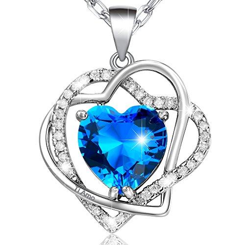 Marenja collana donna placcato oro bianco-pendente cuori di oceano blu incisione ti amo-gioielli originali con cristalli