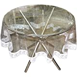 Stylista Transparent Waterproof Round Table Cover With White Laces Border 60 Inches Diameter