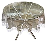 Stylista Transparent Waterproof Round Table Cover With Border Laces 60 Inches Diameter