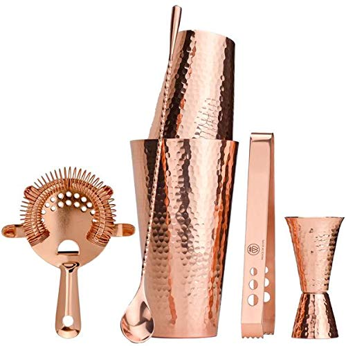 Prince of Scotts Cocktail-Shaker-Set, gehämmert, massives Kupfer, mit Barwerkzeugen