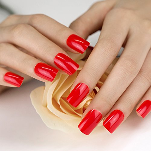 ArtPlus Christmas Red Fake Nails Kit Medium Full Cover with Glue 24pcs False Nails