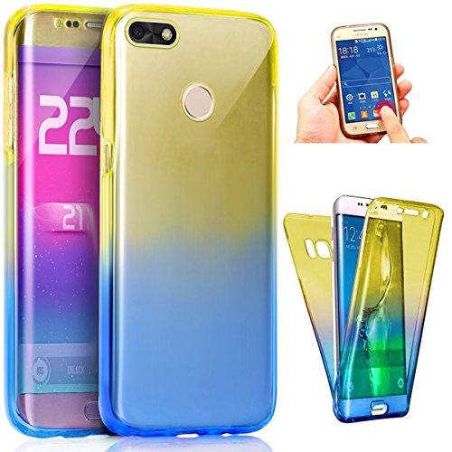 Coque Huawei P9 Lite Mini,Intégral 360 Degres avant + arrière Full Body Protection Couleur de dégradé Transparente Silicone Gel TPU Souple Housse Etui Case Coque pour Huawei P9 Lite Mini,Bleu Jaune