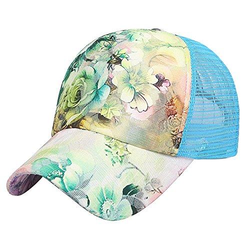 LONTG Unisex Sommer Baseball Cap Sport Floral Mesh Hat Golf Running Wandern Quick Dry Verstellbar Baseball Gap Free-Size Sun Hat Cap, Unisex, Blue Multi-Colored -