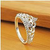 Gamloious Mode-Frauen-Dame Prinzessin Königin-Kronen-Silber überzogene Ring-Hochzeits-Kristallring (8)
