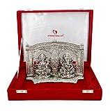 International Gift Silver Finish Laxmi Ganesh Oxidized Silver Finish God Idol With With Red Velvet Box