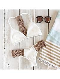Bikini blanco con crochet Zooarts® 2017,braguita y parte de arriba de triángulo con push-up, Medium