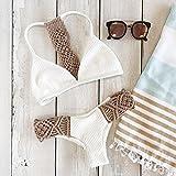 Bikini blanco con crochet Zooarts® 2017,braguita y parte de arriba de triángulo con push-up, Large