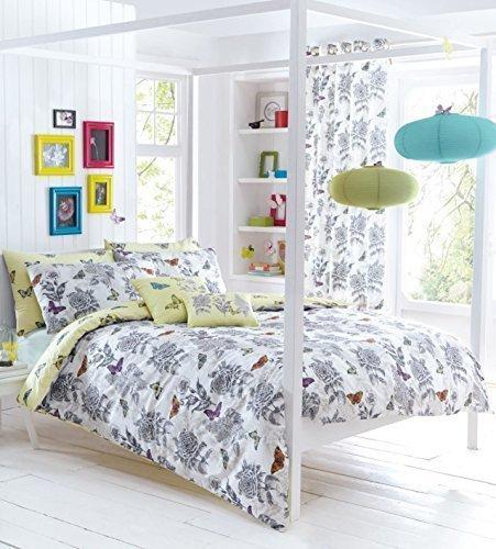 BLANC GRIS BEIGE PAPILLON FLEURI HACHURES croisées King Size Couverture Housse confortable