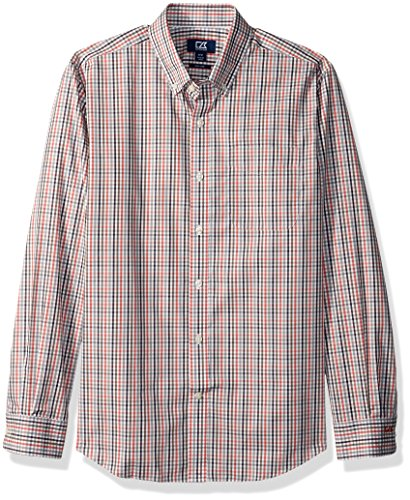 Cutter & Buck Men's Big and Tall Medium Plaid and Check Easy Care Button Down Collared Shirts, Sodona Red Baxter Twill Check, XLT (Big And Tall Baumwolle Kleid Shirt)