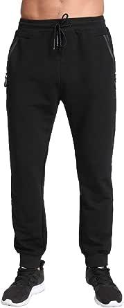 Tansozer Mens Joggers Slim Fit Tracksuit Bottoms Zip Pockets