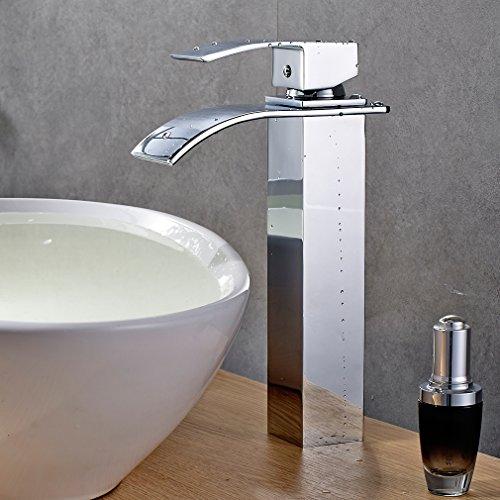 Auralum® Disegno unipolare rubinetto della cucina, cascata Miscelatore monocomando lavabo Acqua fredda e acqua calda per lavabo e bagno typ 3