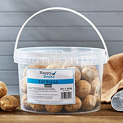 No Net Suet Fat Balls All Year Bird Balls, 90g Wild Bird Food By Happy Beaks by Happy Beaks