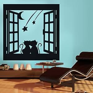 Finestra romantica adesivi murali wall stickers di - Adesivi natalizi per finestre ...
