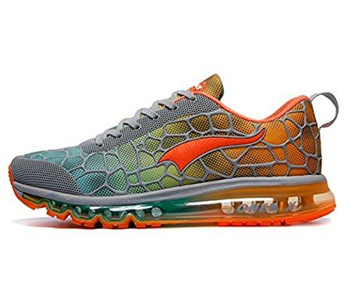 Onemix Herren Air Laufschuhe Sportschuhe mit Luftpolster Turnschuhe Leichte Schuhe Grau orange Größe 47 EU (Orange Grau-tennis-schuhe Und)