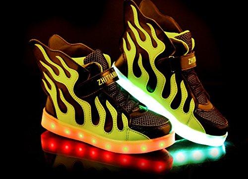 [Baskets enfant]KIPTOP®Basket led chaussures de sport lumineuse clignotante 7 couleurs rechargeable USB Sneakers cool pour enfant noir
