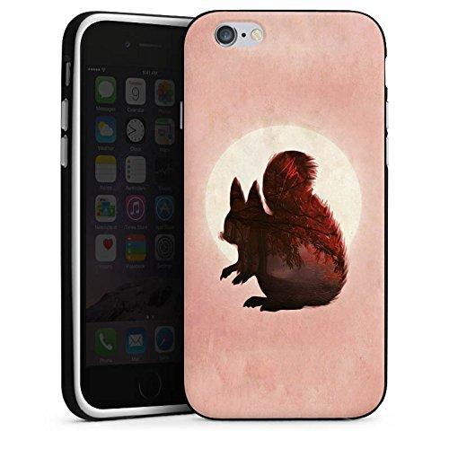 Apple iPhone X Silikon Hülle Case Schutzhülle Eichhörnchen Mond Muster Silikon Case schwarz / weiß