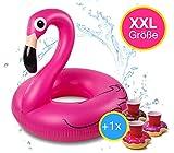 Flamingoring XXL 110 cm Schwimmring Schwimmreif Flamingo aufblasbar Design für den Pool, See & Strand, Meer, Wasser mit 1x Getränkehalter Donut für Flaschen und Getränke, Cocktail pink