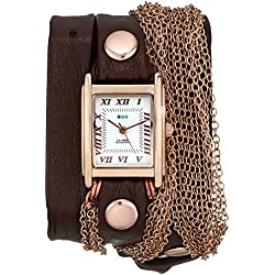 La Mer Collections Damen LMDUO1002 Brown Rose Gold Rio Rose Gold Bracelet Wrap Armbanduhr