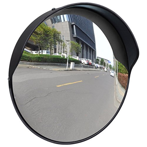 vidaXL Miroir convexe d'extérieur noir en plastique 30 cm Miroir Sortie De Garag