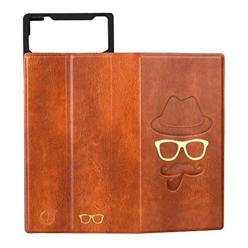 J Cover Moustache Series Leather Pouch Flip Case For Panasonic T30 Light Brown