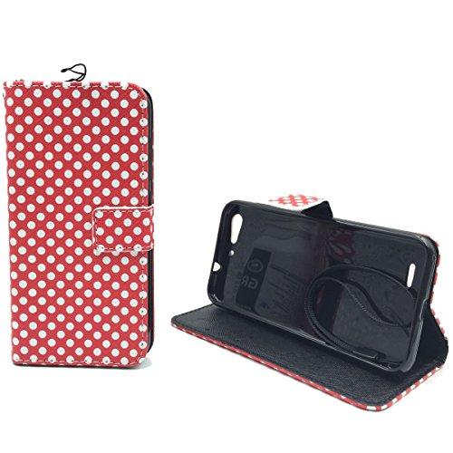 Roi Boutique Housse Wallet Cadre Bumper Case Cover imitation cuir Format Livre ROT / WEISS GEPUNKTET