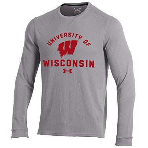 Long Sleeve Knit Tee (NCAA Wisconsin Badgers Men's Waffle Knit Long Sleeve Tee, Medium, True Grey Heather)