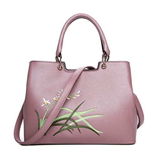 Chinesische Gestickte Tasche (Howoo PU Chinesisch klassischer Stil Gestickt Schultertasche Handtasche Bote Umhängetasche für Frauen / Mädchen Rosa)