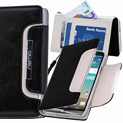 LG L80 Hülle, numia Handyhülle Handy Schutzhülle [Book-Style Handytasche mit Standfunktion & Kartenfach] Pu Leder Tasche für LG L80 Case Cover [Schwarz-Weiss]