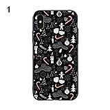 Huhuswwbin Schutzhülle für iPhone X 7 8 6S Plus, Weihnachtsbaum-Handschuhe mit Schneeflocken-Motiv, 1# für iPhone X (10)