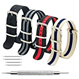 Correas de Nylon NATO Paquete de 4 18mm 20mm 22mm Balístico Zulu Correa para Reloj Hebilla de Acero Inoxidable (24mm, Black+Bond+Linen Navy+Black Red)