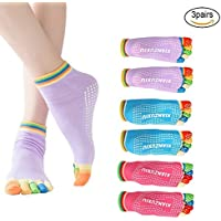 EQLEF® 3 Pairs Womens Anti-Slip Grip Workout Yoga Socks (M)