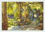 Bild mit Rahmen Johan Messely - Promenade provençale - Holz silber, 100 x 70cm - Premiumqualität - , Nostalgie, Garten, Natur, Gartenweg, Mediterran, Sommer, Haus, Pflanzen, Blumen, Entspann.. - MADE IN GERMANY - ART-GALERIE-SHOPde